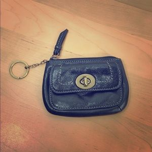 Coach 💜 Black Leather Mini Zip Coin Purse Wallet